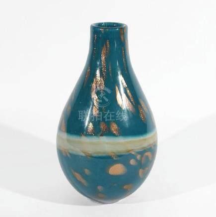 Blue & Speckled Gold Art Glass Vase