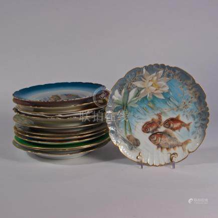 Turn of the 20th Century Set of Assorted Fish Plates