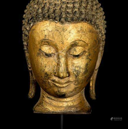 18th Century Sukhothai Gold Gilt Buddha Head