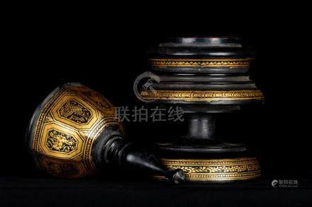 19th Century Antique Burmese Shwe Zawa Lacquerware