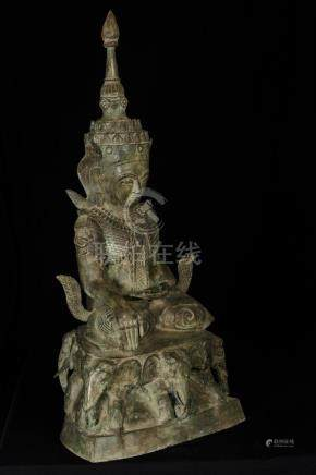 19th Century Laos Enlightenment Buddha on Elephant