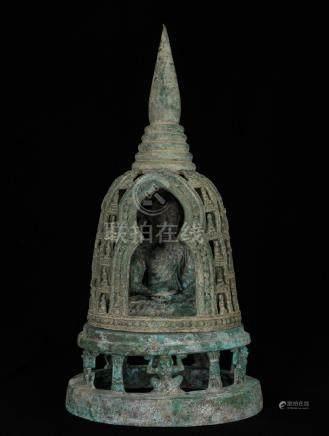 19th Century Caged Ghandara Indian Buddha in Meditation
