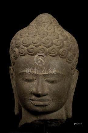 18th Century Thai Dvaravati Stone Buddha Head Statue