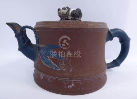 A late 19th/early 20thC Chinese Yixing porcelain teapot,