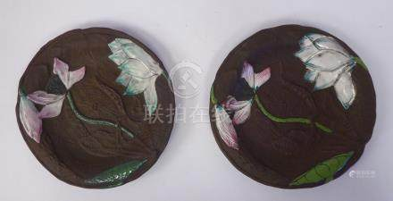 A pair of late 19th/early 20thC Chinese Yixing porcelain dishes,
