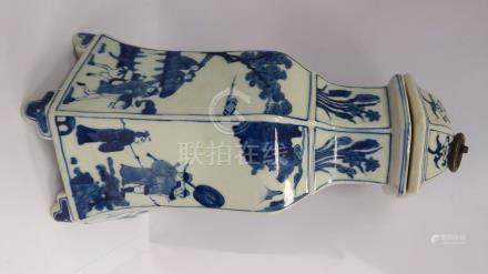A 20thC Chinese porcelain vase of hexagonal bell design,