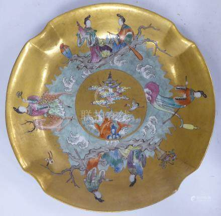 A Chinese Jiaqing period porcelain bowl, decorated with figures amongst crashing waves,