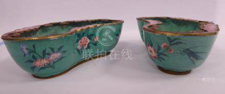 A pair of early 20thC Chinese cloisonne cloud shaped bowls, decorated in rose colour,