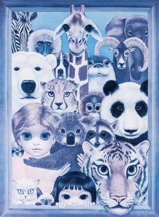 MARGARET KEANE ,Big Eyed Girl and Zoo Animal
