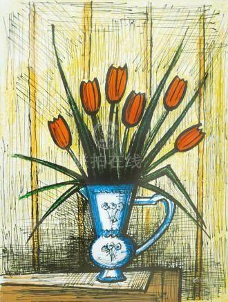 BERNARD BUFFET ,Potted Flowers