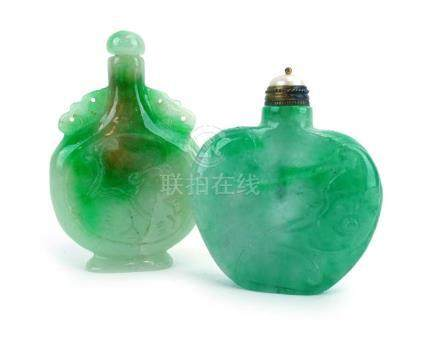A Chinese carved mottled green jade scent bottle of typical form, h.
