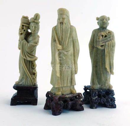 Three Chinese carved soapstone figures, max h.
