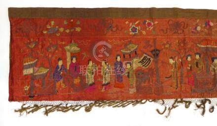 A late 18th/early 19th century Chinese silk long stitch panel depicting a ceremony, 74.
