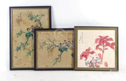 A Chinese painting on fabric depicting sparrows on a branch, signed, 70 x 43 cm,