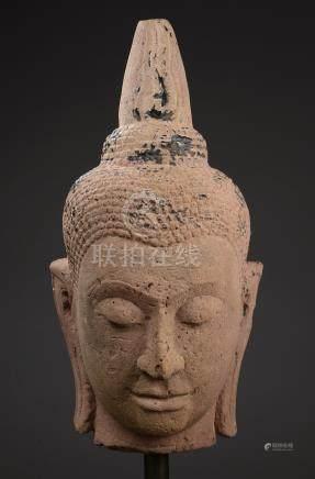 Rare tête de Buddha à la beauté juvénile et l'expression sereine les yeux mi clos [...]