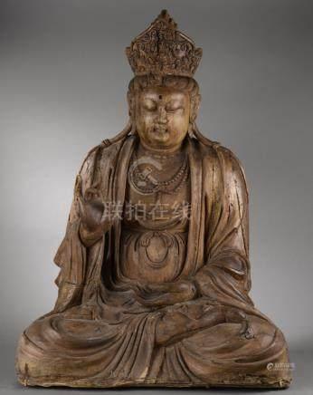 Le Boddhisattva Kwan Yin assis en méditation coiffé d'un diadème incorporant [...]
