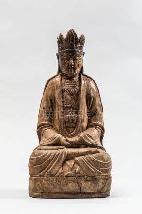Le Boddhisattva Kwan Yin assis en méditation paré d'une couronne à pétales et [...]