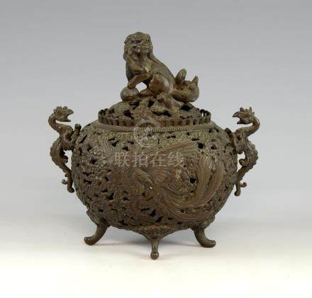 20th century Chinese bronze twin-handled censer and cover with pierced and phoenix and dragon