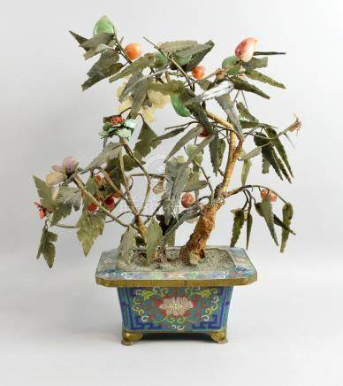 20th century Chinese jade and hardstone bonsai tree in cloisonne jardiniere, 41cm high,