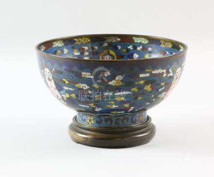 Chinese cloisonne bowl decorated with seated figures of Budai ho shang, four character Ming mark but