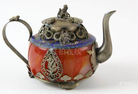 Chinese agate, white metal and cloisonne mounted teapot and cover, impressed marks to base, 8.5cm