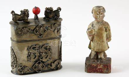 Chinese white metal box and cover applied with dragons and Phoenixes, impressed mark to base, 10cm