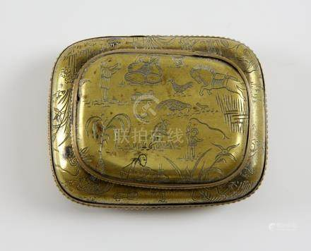 Chinese gilt metal snuff box and cover of cushion form, engraved with figures, animals and birds,