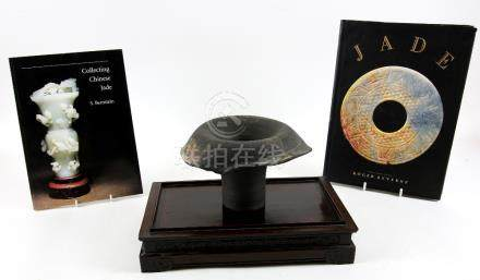 Chinese rectangular carved hardwood stand, 33cm wide, two reference books on collecting Chinese jade