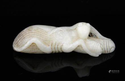 Chinese pale celadon jade chop stick rest carved as a grasshopper with two grubs between it's