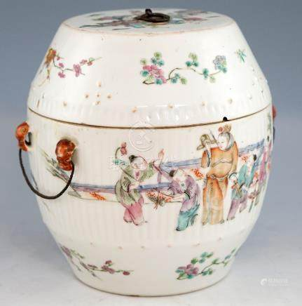 Chinese famille rose jar and cover, the half ribbed body decorated with figures and children playing