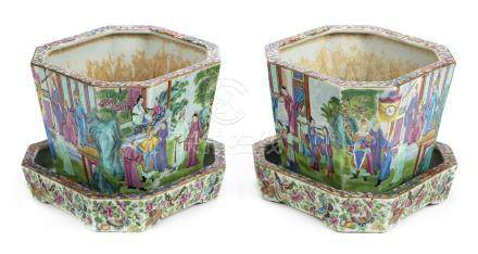 *Jardinieres and Stand. Pair of 19th century Chinese Canton enamel jardiniŠres and stand, each