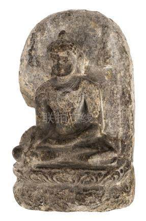*Stone Stele. An early Tibetan stone stele carved with Buddha resting on lotus base, the reverse