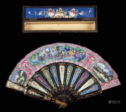 *Fan. A hand-painted fan, Chinese, mid 19th century, folding double-sided paper fan, painted with