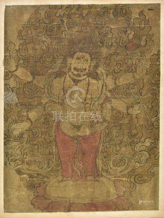 Chinese School. Male deity with three eyes and six arms, probably 18th century, pen, ink and