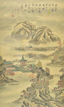 *Chinese School. Landscape with buildings and mountains, early-mid 20th century, pen, ink and