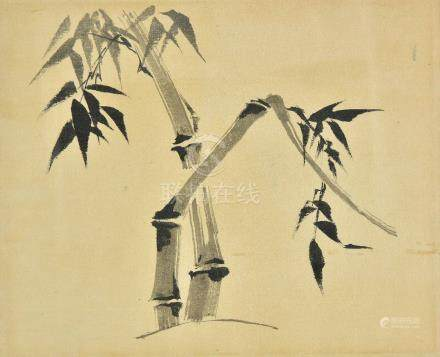 *Chinese School. Bamboo, 20th century, pen and black ink brush painting on paper, one or two small