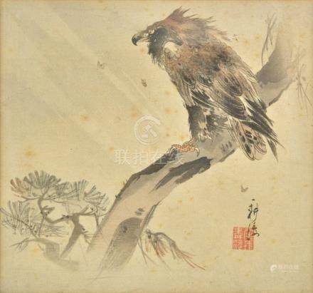 *Follower of Gao Qifeng (1889-1933). Vulture perched on a branch, pen, ink and watercolour on
