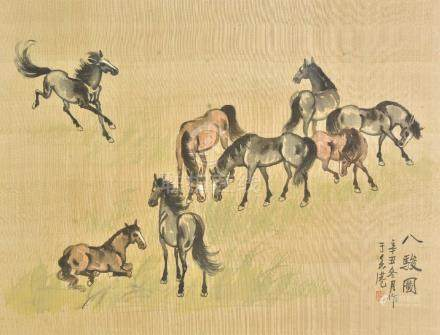 *Chinese School. Eight horses, 20th century, pen, ink and watercolour on silk, caption and red