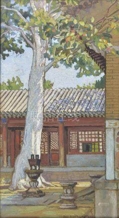 *Mullikin (Mary Augusta, 1874-1964). Interior of a Chinese Courtyard, circa 1930s, gouache and black
