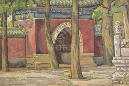 *Mullikin (Mary Augusta, 1874-1964 ). Entrance to a Chinese Temple, circa 1930s, gouache and black