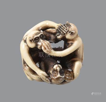 ϒ A Stagshorn Netsuke in the form of the Sanbikisaru