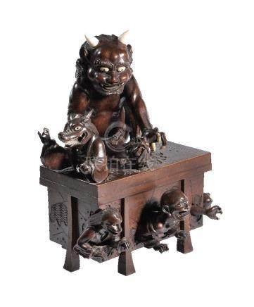 ϒ An Amusing Wood Okimono Group