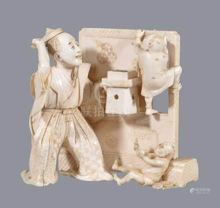 ϒ A Japanese Ivory Okimono of a Priest