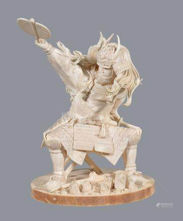 ϒ A Fine Ivory Okimono of a Seated General by The Maruki Company