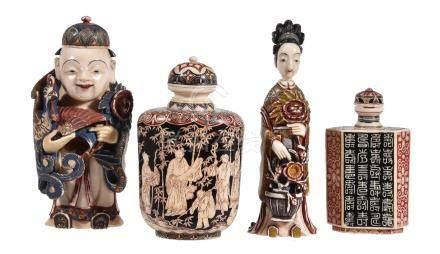 ϒ A Japanese stained ivory snuff bottle