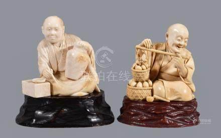 ϒ Two Japanese ivory Okimono