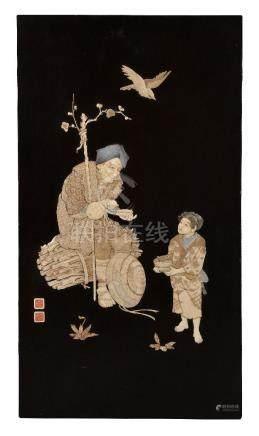ϒ A Japanese Inlaid Lacquered Wood Panel