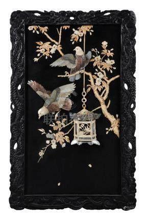 ϒ A Pair of Japanese inlaid Lacquer Panels