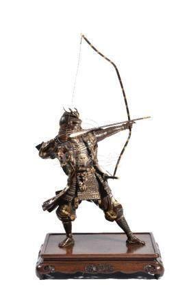 A Bronze Miya-o Style Figure of a Japanese Archer