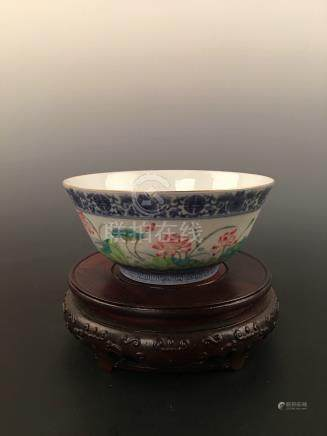 Chinese Famille Rose Lotus Bowl